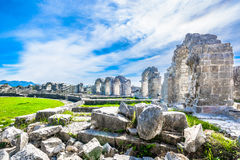 Roman amphitheater in Croatia, Europe. Picturesque scenic view at amphitheater in Salona, old roman province in Croatia near town Split, Croatia Stock Photography