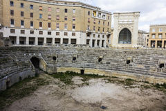 Roman amphitheater. Discovered in the central square of historic holy oronzo, Lecce Stock Photos