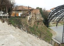 Roman Amphitheater em Ohrid fotografia de stock royalty free