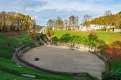 Roman Amphitheater en el Trier en otoño, Alemania Fotos de archivo