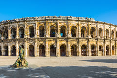 Roman amphitheater in Nimes Stock Images
