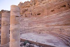 Roman amphitheater at Petra Jordan. One of the seven new wonders of the world Royalty Free Stock Image