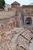 Roman amphitheater and ruins in Cartagena city, region of Murcia, Spain. Royalty Free Stock Photo