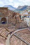 Roman amphitheater and ruins in Cartagena city, region of Murcia, Spain. Stock Photos