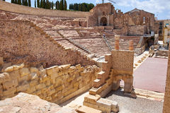 Roman amphitheater and ruins in Cartagena city, region of Murcia, Spain. Royalty Free Stock Images