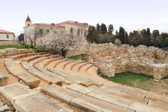 Roman amphitheater and the ruins of the greek temple in Chersonesus Royalty Free Stock Images