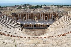Roman amphitheater in the ruins of Hierapolis, in Pamukkale. Turkey. Stock Photos