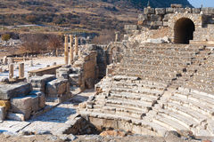 Roman amphitheater ruins with stone columns row in ephesus Archa Royalty Free Stock Photography