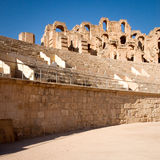 Roman amphitheater of Thysdrus, El Djem, Tunisia. Detail from the interior of the ancient roman amphitheatre in El Djem, Tunisia stock photography