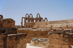 Roman Amphitheater in Tunisia Royalty Free Stock Photos