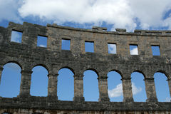Roman Amphitheater, view of the Arena (colosseum)  in Pula, Croatia Stock Photos