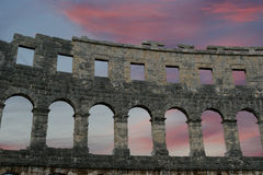 Roman Amphitheater, view of the Arena (colosseum)  in Pula, Croatia Royalty Free Stock Photo