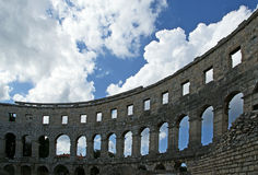 Roman Amphitheater, view of the Arena (colosseum)  in Pula, Croatia Royalty Free Stock Photos