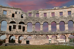 Roman Amphitheater, view of the Arena (colosseum)  in Pula, Croatia Royalty Free Stock Photography