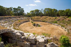 Roman Amphitheatre. Situated in Syracuse, Sicily Stock Photos