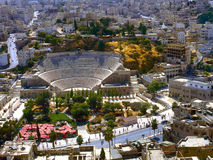 Roman amphitheatre in Amman. View at Amman the captal of Jordan,with the roman amphitheatre Royalty Free Stock Photo