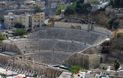 Roman amphitheatre in Amman Citadel Stock Photos