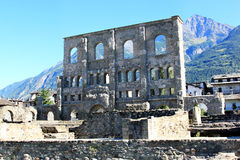 Roman Amphitheatre in Aosta, Italy. The town planning of  Augusta Praetoria (Roman Aosta), founded in 25 B.C, placed public performance buildings such as the the Royalty Free Stock Photo
