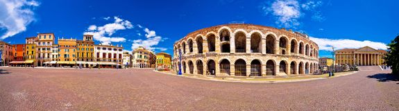 Roman amphitheatre Arena di Verona and Piazza Bra square panoramic view. Landmark in Veneto region of Italy royalty free stock photography