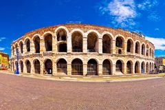 Roman amphitheatre Arena di Verona and Piazza Bra square panoram. Ic view, landmark in Veneto region of Italy royalty free stock photo