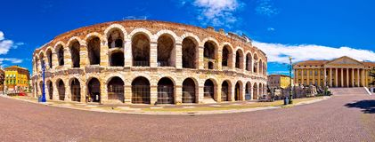 Roman amphitheatre Arena di Verona and Piazza Bra square panoram. Ic view, landmark in Veneto region of Italy stock photography