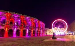 Roman amphitheatre, Arena of Nimes, in France. Roman amphitheatre, Arena of Nimes, in the evening - France Stock Photo