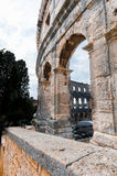 Roman amphitheatre (Arena) in Pula. It was constructed in 27 BC - 68 AD and is among six largest surviving Roman arenas in the World. Pula Arena is best Stock Photos