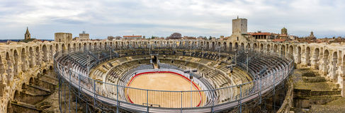 Roman amphitheatre in Arles - UNESCO heritage in France. Roman amphitheatre in Arles - UNESCO world heritage in France Royalty Free Stock Photos