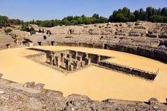 Roman Amphitheatre av Italica, Seville, Andalusia, Spanien royaltyfri foto
