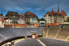 Roman Amphitheatre in Avenches, Switzerland. Avenches is a small town in the French-speaking part of Switzerland which had a glorious past: during the Roman Stock Photography