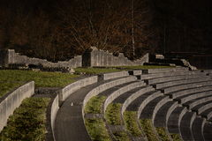 Roman Amphitheatre of Aventicum / Avenches. The famous arena of Avenches (during the roman empire named Aventicum) in Switzerland at night Stock Images