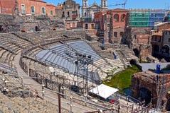 Roman amphitheatre Catanië, Sicilië Italië Stock Afbeeldingen