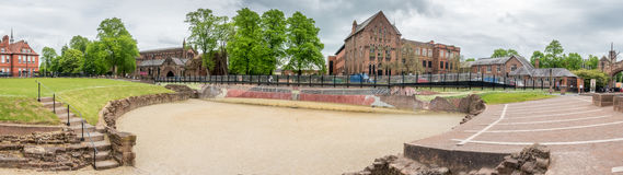 Roman Amphitheatre in Chester, England. CHESTER - MAY 20 : Panoramic view of Roman Amphitheatre, central historic English heritage place in Chester, England, was Royalty Free Stock Images