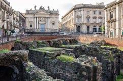 Roman Amphitheatre and the church of San Biagio Royalty Free Stock Photos