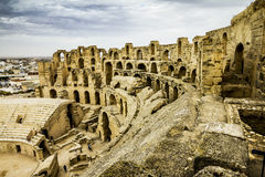 Roman amphitheatre in the city of El JEM in Tunisia Royalty Free Stock Photos