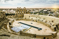 Roman amphitheatre in the city of El JEM in Tunisia at sunset Royalty Free Stock Image