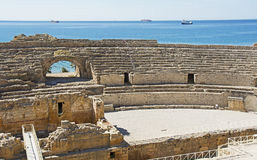 Roman Amphitheatre dans la ville de Tarragone Images libres de droits
