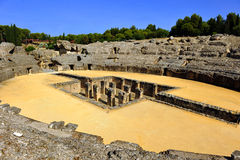 Roman Amphitheatre de Italica, a Andaluzia, Espanha foto de stock royalty free