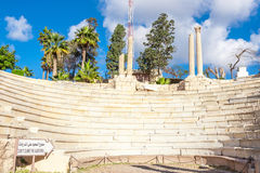 Roman Amphitheatre e as ruínas em Alexandria fotografia de stock royalty free