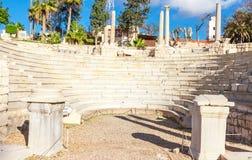 Roman Amphitheatre e as ruínas em Alexandria imagem de stock royalty free