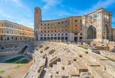 Roman Amphitheatre em Lecce, Puglia, Itália do sul imagens de stock