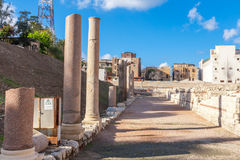 Roman Amphitheatre en de ruïnes in Alexandrië Royalty-vrije Stock Fotografie
