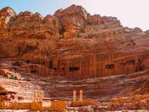 Roman Amphitheatre en el Petra Fotos de archivo