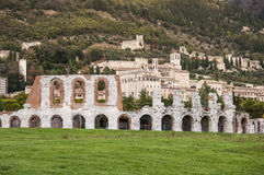 Roman amphitheatre in Gubbio. Ruins of the Roman amphitheatre near Gubbio, Italy Royalty Free Stock Photos