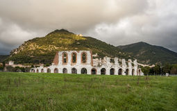 Roman amphitheatre in Gubbio. Ruins of the Roman amphitheatre near Gubbio, Italy Stock Image