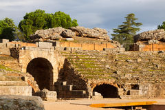 Roman Amphitheatre i Merida Royaltyfria Foton
