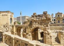Roman Amphitheatre in Marktplatz-Santo Oronzo-Quadrat Lecce, Italien stockbilder