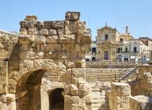 Roman Amphitheatre in Marktplatz-Santo Oronzo-Quadrat Lecce, Italien stockfotos