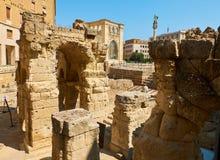 Roman Amphitheatre in Marktplatz-Santo Oronzo-Quadrat Lecce, Italien stockfotografie