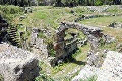 The Roman amphitheatre near Syracuse Stock Images